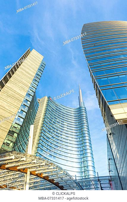Milan, Lombardy, Italy. Gae Aulenti square with Unicredit Towers