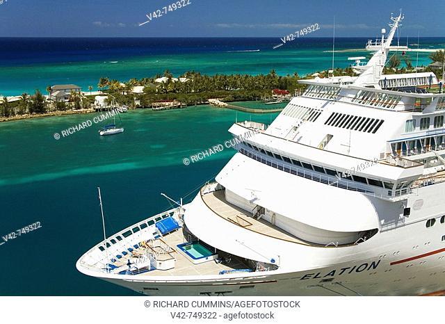Carnival 'Elation' cruise ship, Prince George Wharf, Nassau, New Providence Island, Bahamas