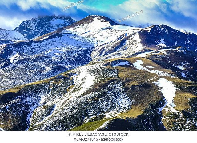 Espigüete peak view from Bistruey mountain area. Cantabria, Spain, Europe,
