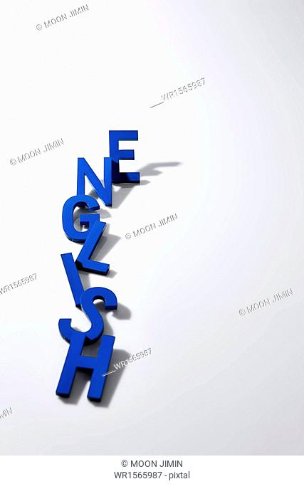 blue alphabet letters saying English in white background