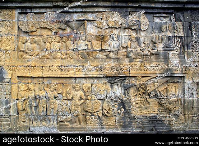 Tale on the stone wall in Borobudur, Java, Indpnesia