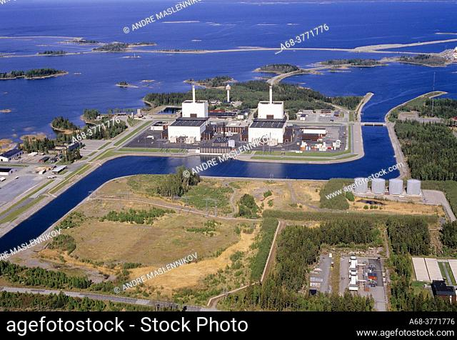 Forsmark's nuclear power reactors can be seen in this aerial photo as well as the cooling water channel. The bio-test lake in the background