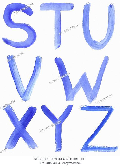 Handwritten Blue Watercolor ABC Alphabet / Painted Blue Watercolor Alphabet, Isolated. Letters S, T, U, V, W, X, Y, Z