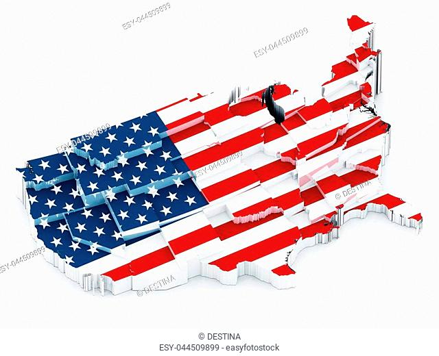USA map covered with American flag. 3D illustration