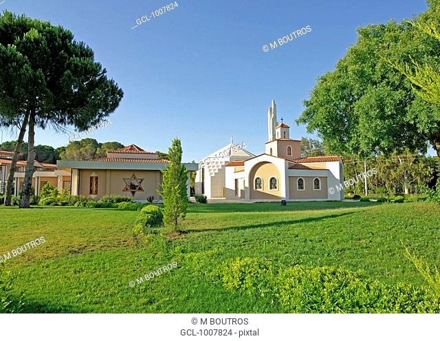 Garden of Tolerance Church, Synagogue and Mosque together in one place in Kadriye/Belek, Antalya, Turkey