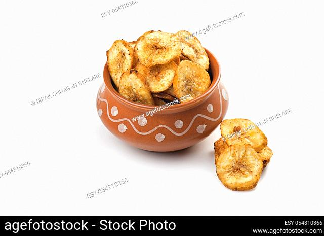 Banana chips on a white background