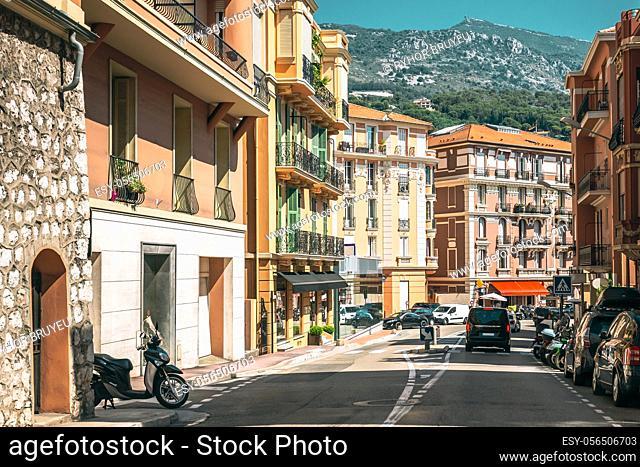 Monte-Carlo, Monaco. Movement of vehicles on freeway, motorway near in suburb of Monaco, Monte Carlo