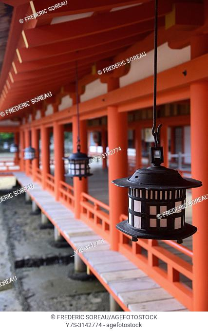 Lanterns and vermillion columns of Itsukushima Shrine in Miyajima island,Japan