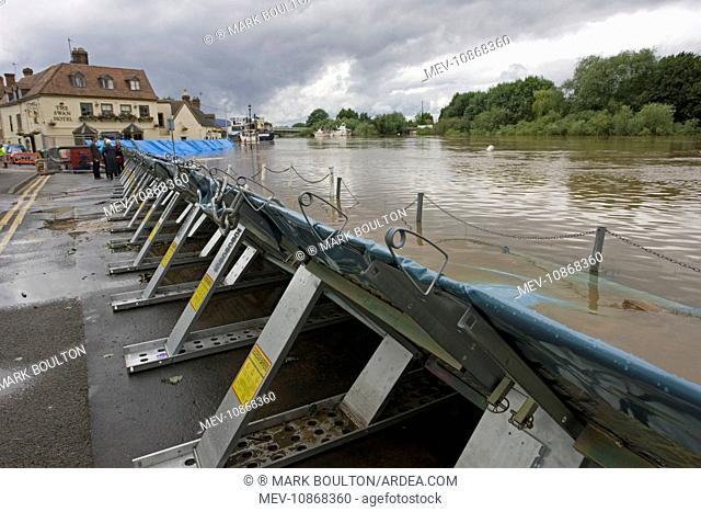 Flood barriers alongside River Severn June 27 2007. Upton upon Severn Worcs UK