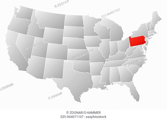 Pennsylvania Usa Map In Grey Stock Photos And Images Age Fotostock - Pennsylvania-on-the-us-map