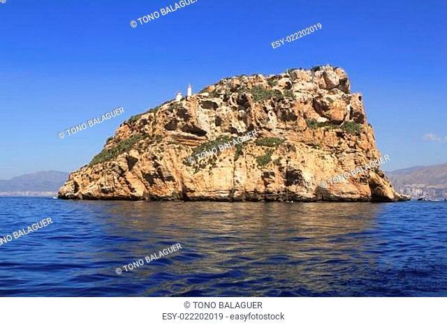 Benidorm Island north view blue sea sky