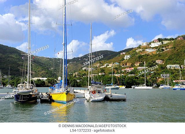 Boats in Harbor Road Town Tortola BVI Caribbean Cruise