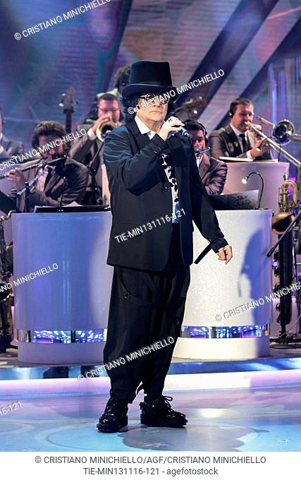 The Italian singer Renato Zero during the performance at tv programme Domenica In, Rome, ITALY-13-11-2016
