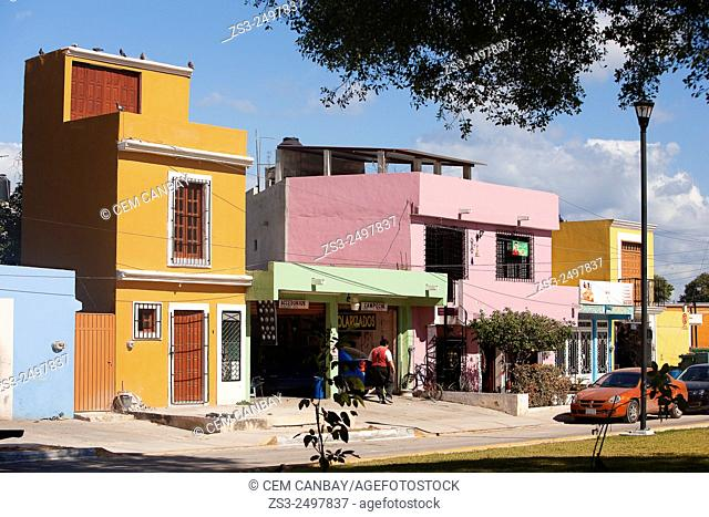 Colorful buildings at the historic center of Campeche, Campeche Region, Yucatan, Mexico, Central America
