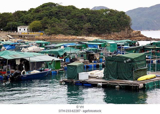 Fish farm at the coast of High Island, off Sai Kung, Hong Kong