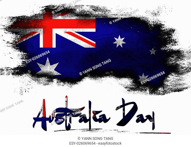 Flag of Australia painted with brush on solid background