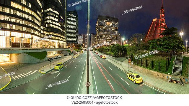 Brazil, Rio de Janeiro, Petrobras Palace, along Avenida Republica do Chile