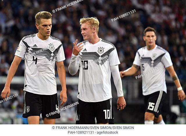 v.li: Matthias GINTER (GER) with Julian BRANDT (GER), action. Soccer Laenderspiel, Germany (GER) -Peru (PER) 2-1 on 09/09/2018 in Sinsheim / Wirsol...