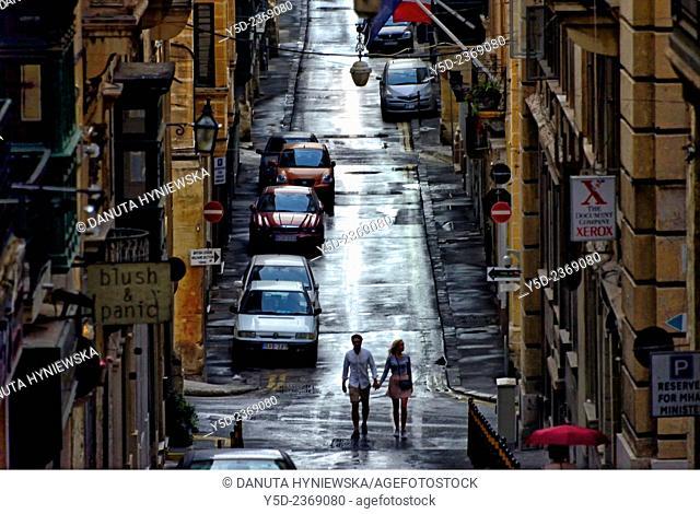 narrow street in the evening, Valletta, Malta, Europe