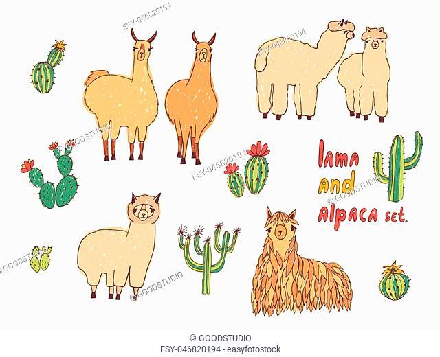 Cute Lama, Alpaca and cactuses set. Hand drawn colorful vector illustration