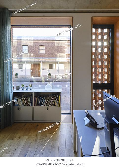 Staff office and view to street. Newnham College, Cambridge, Cambridge, United Kingdom. Architect: Walters and Cohen Ltd, 2018
