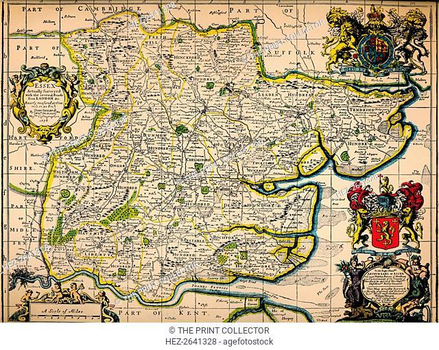 'Map of Essex', 1678. Artists: John Ogilby, William Morgan