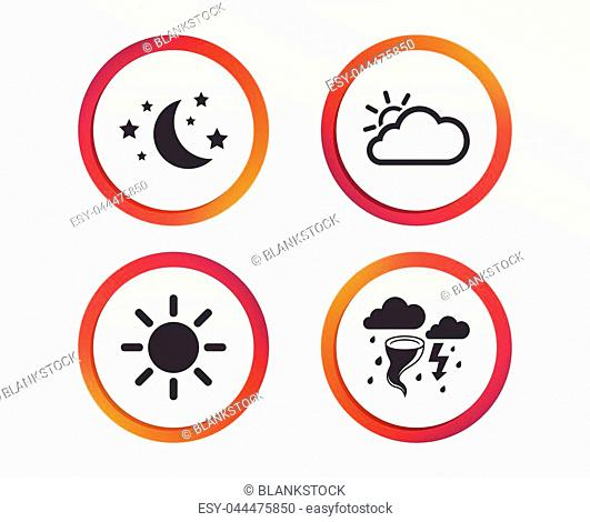 Weather icons. Moon and stars night. Cloud and sun signs. Storm or thunderstorm with lightning symbol. Infographic design buttons. Circle templates