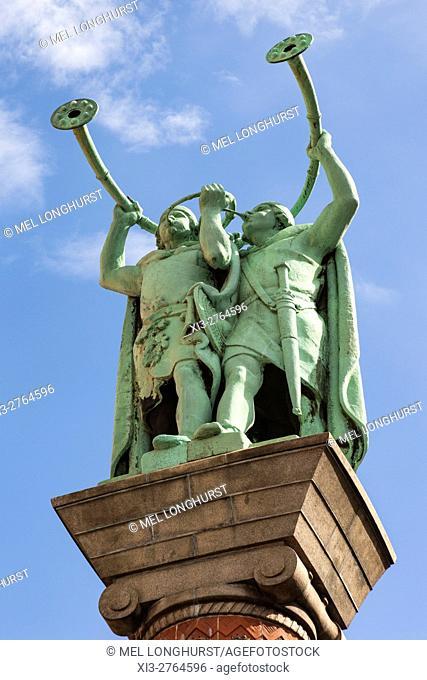 The Horn Blowers statue, also Lur and Lure blowers, Lurblaeserne, Radhuspladsen, Copenhagen, Denmark