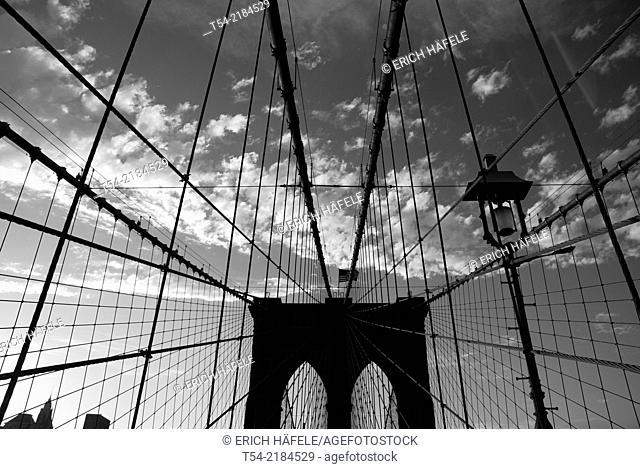 Brooklyn Bridge in New York at Sunset