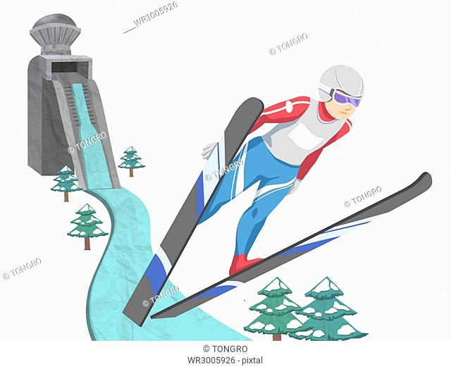 Passionate male skier jumping in illustration