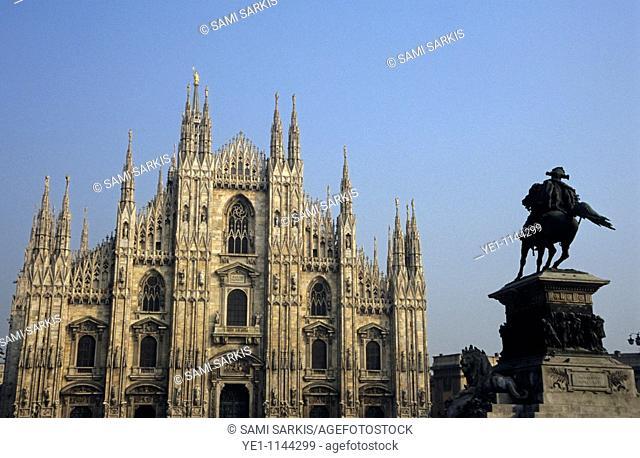 Statue outside the Duomo di Milano, Milan, Italy