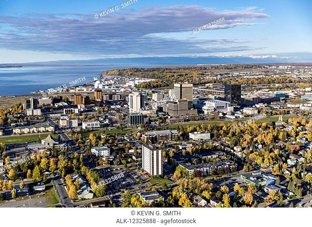 Aerial view of downtown Anchorage in autumn, Southcentral Alaska, USA