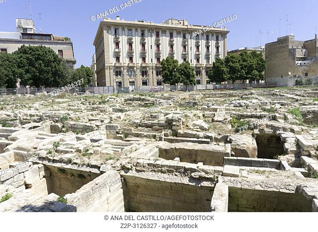 Cityscape in Lecce on July 13, 2018 Puglia Italy Ruines in Caserma Massa