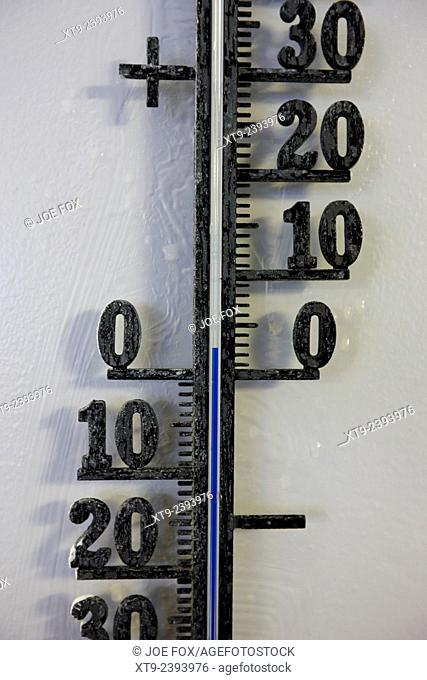 centigrate thermometer with temperature of two degrees above freezing