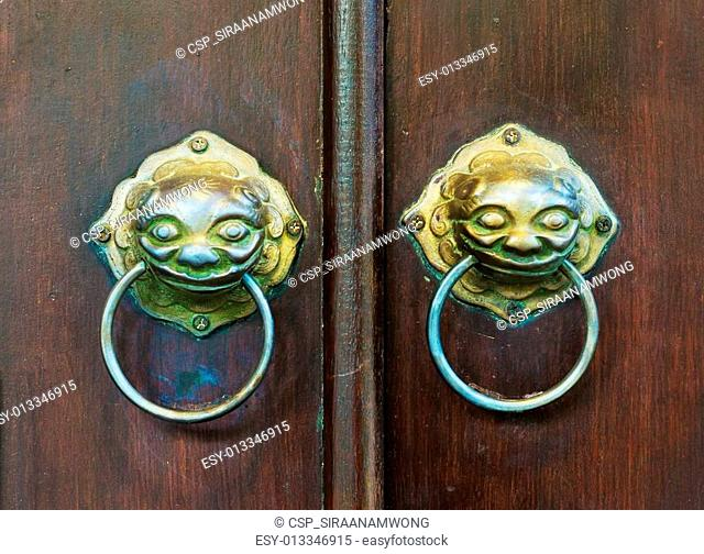 chinese door with a lion head