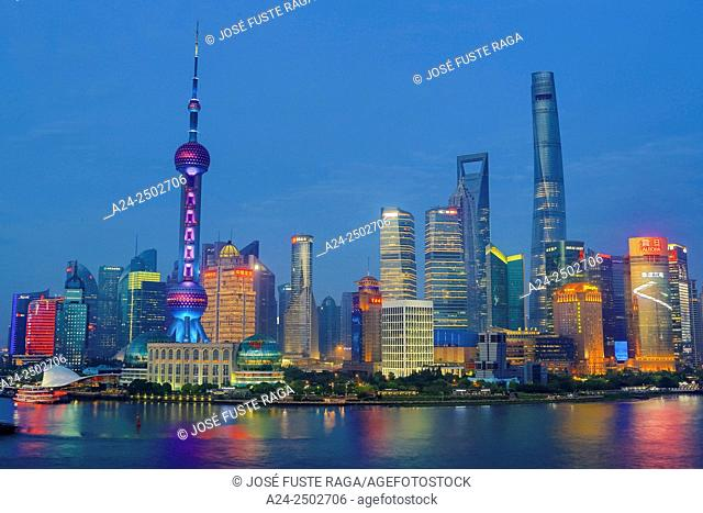 China, Shanghai City, Pudong District Skyline, Oriental Pearl and Shanghai Towers, Huanpu River