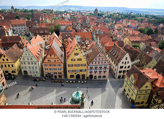 Marktplatz, Rothenburg Ob der Tauber, Franconia, Bavaria, Germany, Europe  Aerial view of rooftops from the Town Hall Rathaus tower