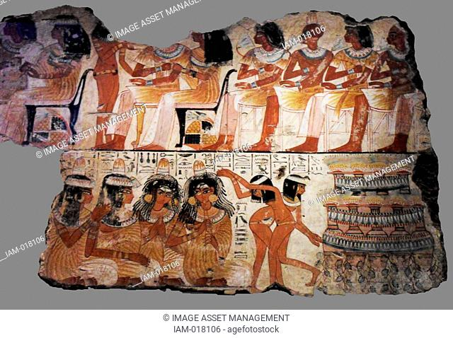 Nebamun was the accountant in charge of grain at the great temple at Amun at Thebes (modern Karnak). This scene from his tomb-chapel shows dancing women