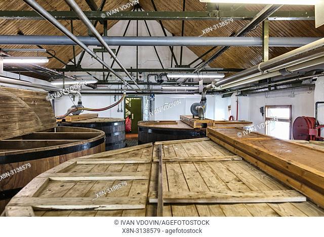 Malt house, Ardbeg distillery, Islay, Inner Hebrides, Argyll, Scotland, UK