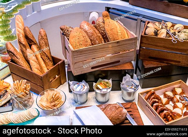 Bread bar station in buffet line