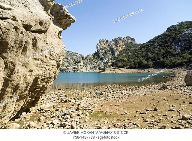 Spain, Balearic Islands, Mallorca, Gran dry landscape rock in the reservoir Gorg Blau