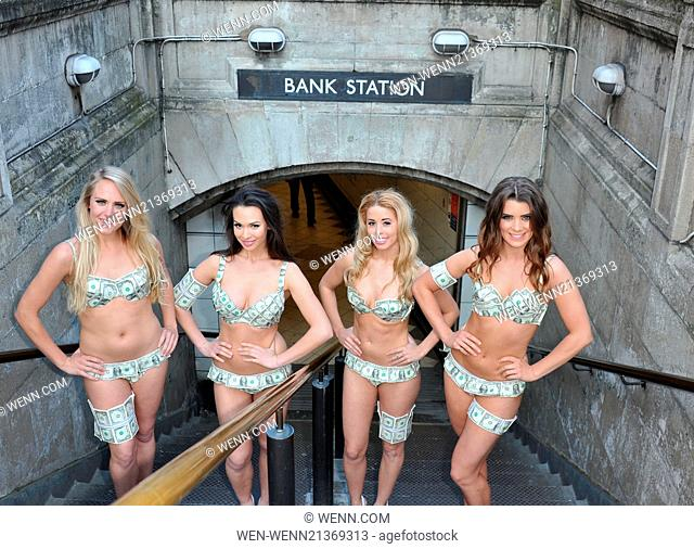 Models or Money mules descend on the Bank of England to celebrate the release of The Wolf Of Wall Street on Blu-ray Featuring: money mules Where: London