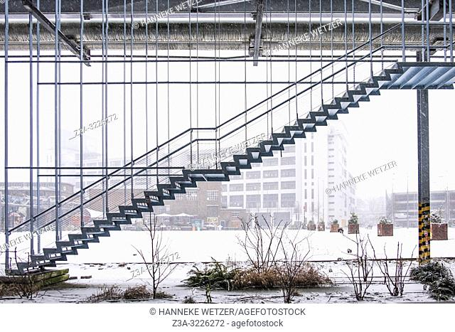 Stairs at industrial former Philips-complex Strijp-S, Eindhoven, The Netherlands, Europe. As an answer to the existing monumental construction of the...