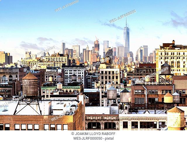 USA, New York, New York City, Manhattan, cityscape, One World Trade Center in the background