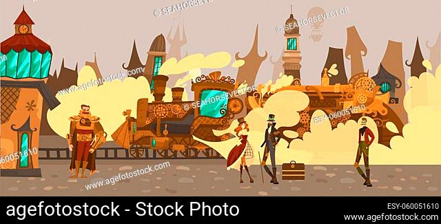 Historic people in fairytale town with old european architecture houses, steampower train fantasy Europe in steampunk technology style vector illustration