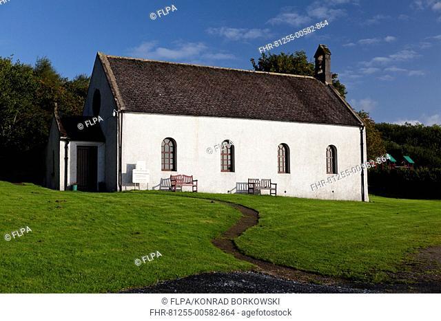 Church in coastal village, Jura Parish Church, Craighouse, Isle of Jura, Inner Hebrides, Scotland