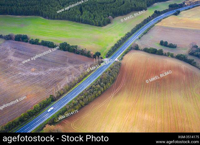 Agricultural area. Aerial view. Ayegui area. Navarre, Spain, Europe
