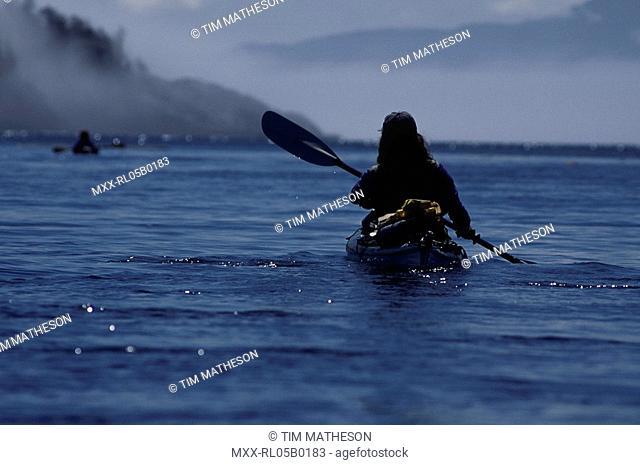 Kayacker, Hakai Recreational Area, Discovery Coast, BC, Canada