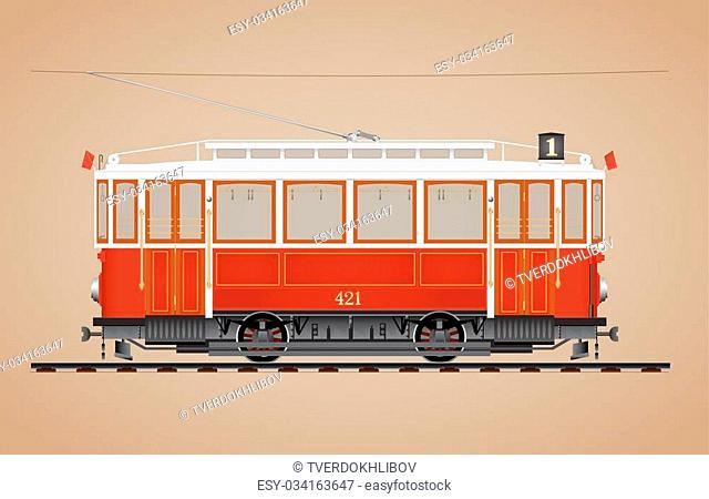 Traditional red tram on tre rail side view