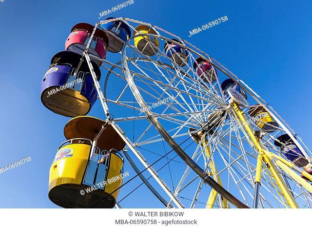 USA, Massachusetts, Cape Ann, Gloucester, St. Peter's Fiesta, Italian-Portuguese fishing community festival, Carnival, ferris wheel